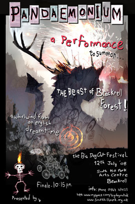 Image of a poster designed to publicise 'Pandaemonium' - a performance to summon the Beast of Bracknell Forest