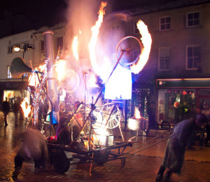 Photograph of the Pandaemonium Engine, a fiery, kinetic sculpture at Huddersfield Festival of Light 2010