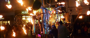Photograph of Pandaemonium Engine - whirling, fiery kinetic device in action at Huddersfield Festival of Light 2010