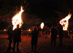 Photo of Hot Heads fiery installation at Yorksshire Sculpture Park