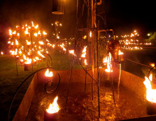 photo of fountain and fire garden