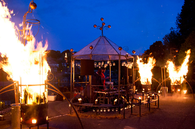 Bandstand and fire & water sculptures made with/for pa-Boom for Holmfirth Arts Festival 2015