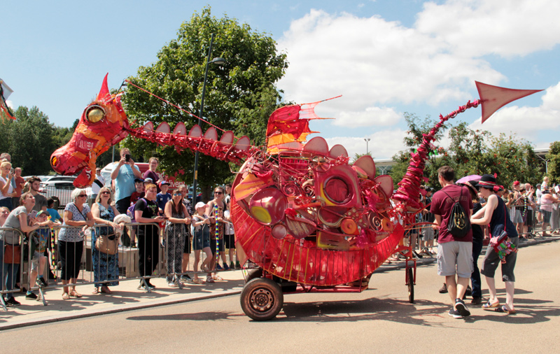 Dragon puppet on wheeled chassis made for Telford Carnival 2018